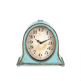 Metal Mantel Clock with Aqua Finish, , large