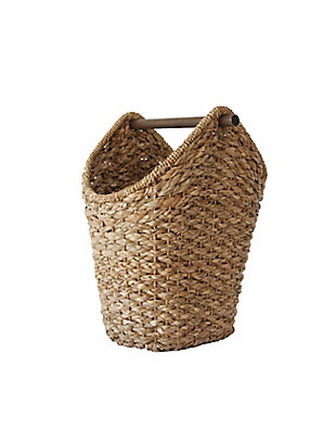 Bankuan Braided Oval Toilet Paper Basket with Wood Bar, , large