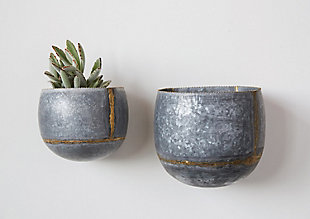 Silver and Gold Metal Wall Planters (Set of 2 Sizes), , rollover