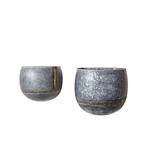 Silver and Gold Metal Wall Planters (Set of 2 Sizes), , large