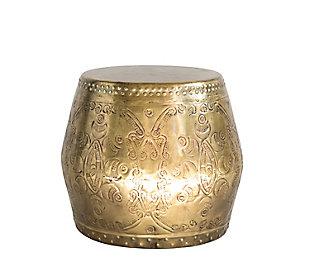 Antique Brass Debossed Metal Drum Table, , large