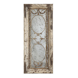 Creative Co-Op Rectangle Pine Wood Framed Antiqued Mirror, , large