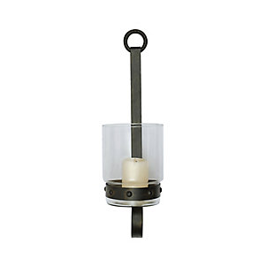 Creative Co-Op Glass and Metal Wall Sconce Candleholder, , large
