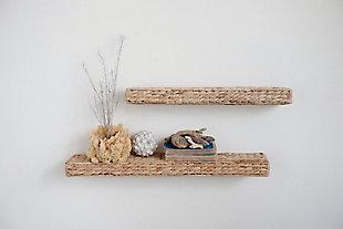 "Creative Co-Op 23.5"" Handwoven Water Hyacinth Wall Shelf, , rollover"