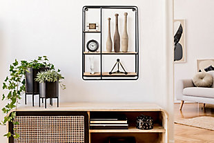 Creative Co-Op 24 Inch Wood and Iron Shelf, , rollover