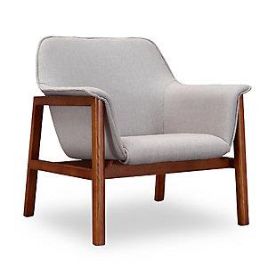 Manhattan Comfort Miller Accent Chair, Gray/Walnut, large
