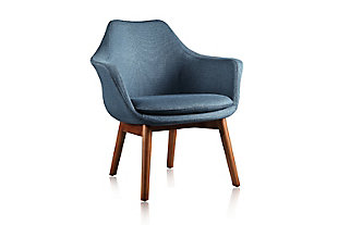 Manhattan Comfort Cronkite Accent Chair, Blue/Walnut, large