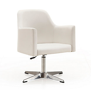 Manhattan Comfort Pelo Adjustable Accent Chair, White/Polished Chrome, large