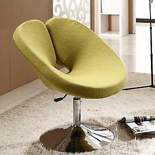 Manhattan Comfort Perch Chair, Green/Polished Chrome, rollover