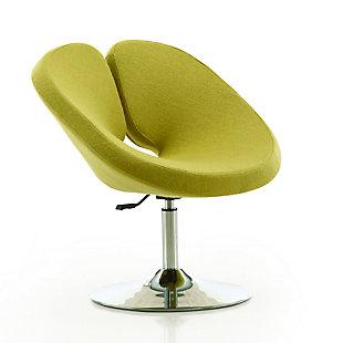 Manhattan Comfort Perch Chair, Green/Polished Chrome, large