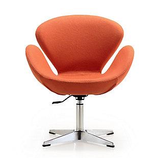 Manhattan Comfort Raspberry Chair, Orange/Polished Chrome, large