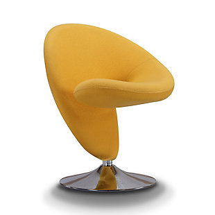 Manhattan Comfort Curl Accent Chair, Yellow/Polished Chrome, large