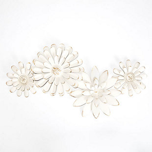 Mambas  White Floral Chain Metal Wall Art, , large