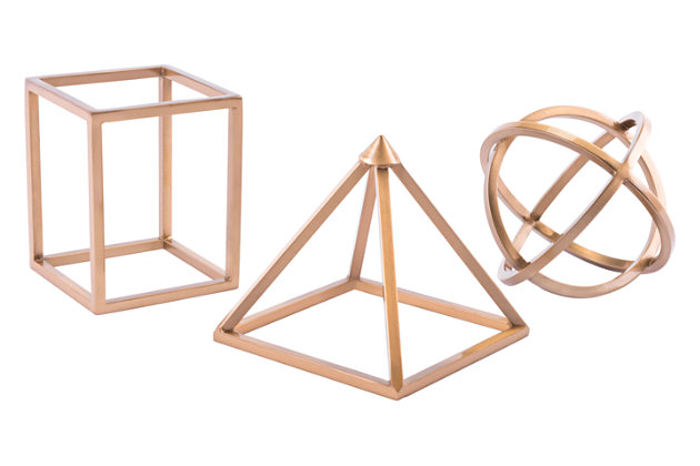 Geo Shape Antique Brass (Set of 3), , large