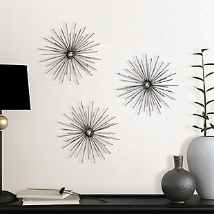 Cabers  Silver Starbursts Metal Wall Art, , rollover