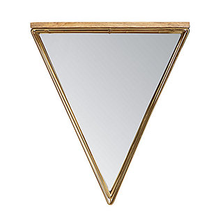 Gatana  Gold Triangle Shelf Mirror, , large