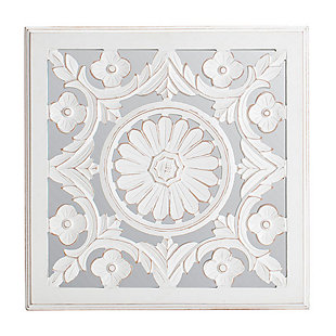 Meryl  White Carved Mirrored Medallion, , large