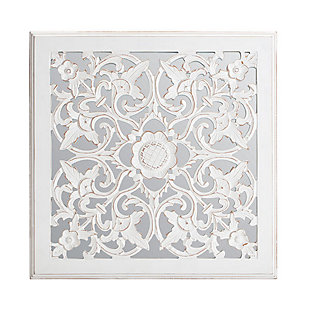 Maia  White Carved Mirrored Medallion, , large
