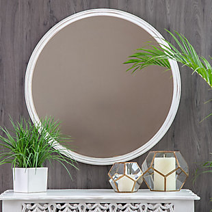 Andrea White 30-in. Round Carved Frame Mirror, , rollover