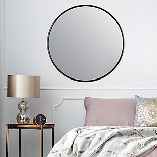 Adelina  Black Circular Mirror, , rollover
