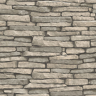 InHome Hickory Creek Stone Peel and Stick Wallpaper, , large