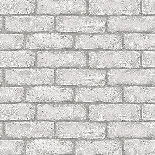 InHome Cambridge Brick Gray Peel and Stick Wallpaper, , large