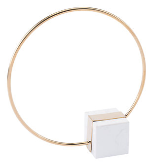 Anteek Brass Ring With Marble Stand, , large
