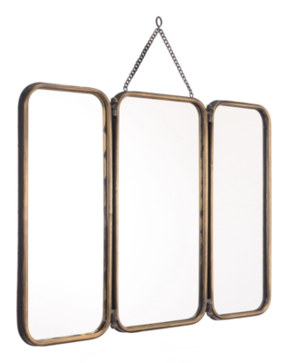 Ashley Industrial Three Panelled Mirror, Gold Finish