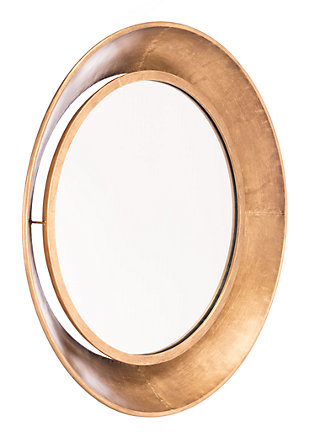 Ovali Large Sloping Rim Round Mirror, , large