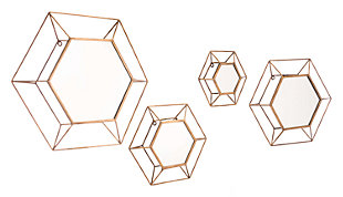 Home Accents 3 Dimensional Hexagonal Mirrors (Set of 4), , large