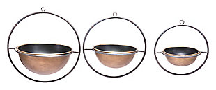 Anteek Open Ring Round Metal Vases (Set of 3), , large