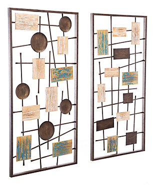 Abstract Multi Shape Textured Wall Panels (Set of 2), , large