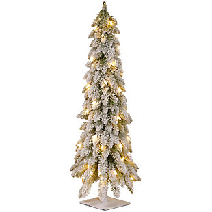 36in. Snowy Downswept Forestree with Clear Lights, , large