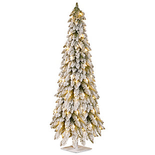 5ft. Snowy Downswept Forestree with Clear Lights, , large