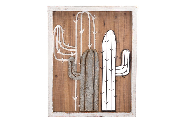 Home Accents Mixed Media Cactus Wall Decor, , large