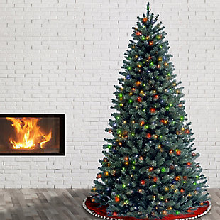 7.5 ft. North Valley Blue Spruce Tree with Multicolor Lights, , rollover