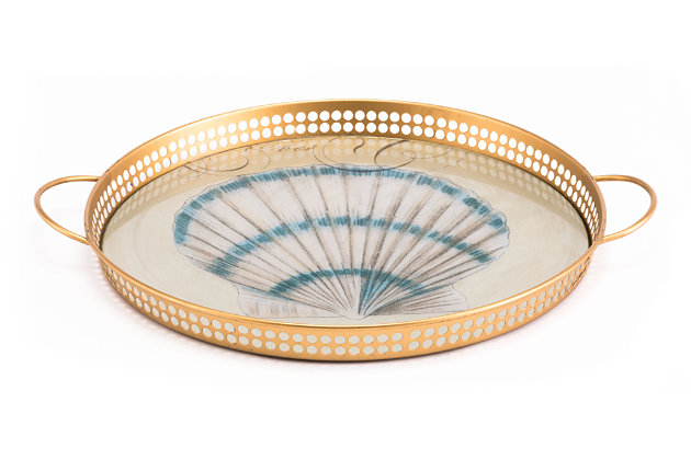 Distressed Printed Shell Tray, , large