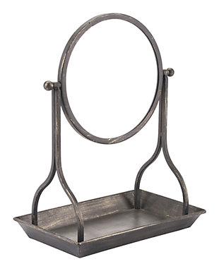Ipsy Table Mirror with Built in Tray, , large