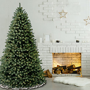 7.5 ft. Downswept Douglas Blue Fir Tree with Clear Lights, , rollover