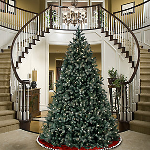 9 ft. Downswept Douglas Blue Fir Tree with Clear Lights, , rollover