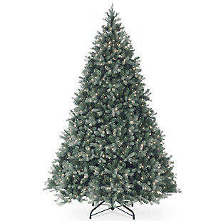 9 ft. Downswept Douglas Blue Fir Tree with Clear Lights, , large