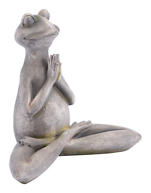 Whimsical Yoga Frog Sculpture, , large