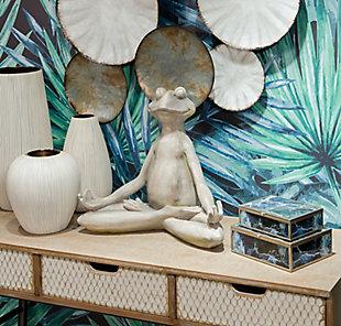 Whimsical Meditating Frog Sculpture, , rollover