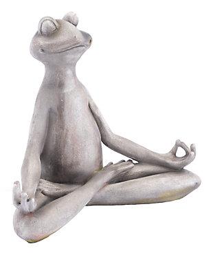 Whimsical Meditating Frog Sculpture, , large