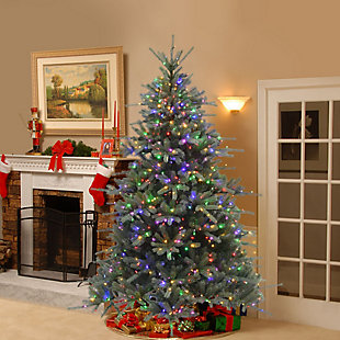 7.5 ft. Ponderosa Blue Fir Tree with Dual Color LED Lights, , rollover
