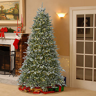 7.5 ft. Snowy Morgan Spruce Tree with Dual Color LED Cosmic Lights, , rollover