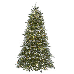 7.5 ft. Snowy Morgan Spruce Tree with Dual Color LED Cosmic Lights, , large
