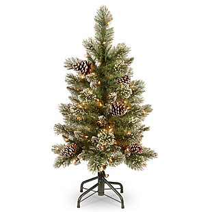 3 ft. Glittering Pine Pencil Slim Tree with Clear Lights, , large