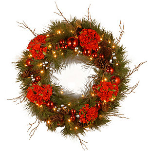 24in. Hydrangea Wreath with Battery Operated Warm White LED Lights, , large