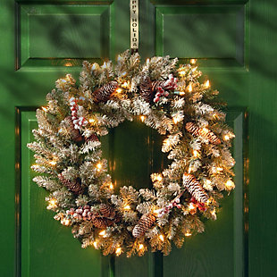 24 in. Dunhill Fir Wreath with Clear Lights, , rollover